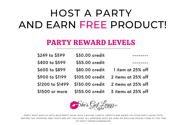 Earn product credits on parties of $249 or more with 3 buying guests
